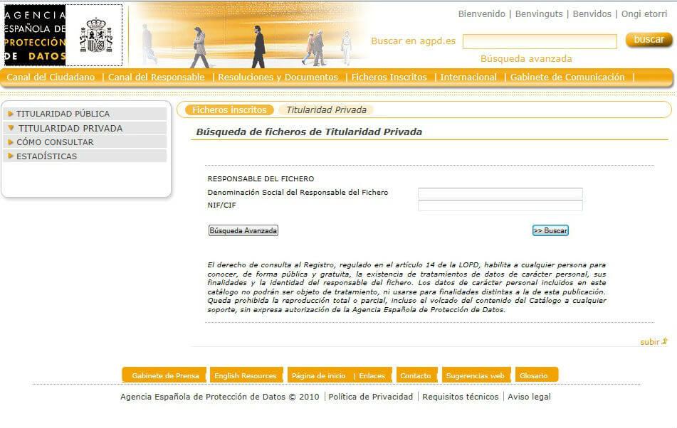 Buscar fichero inscrito en la AGPD